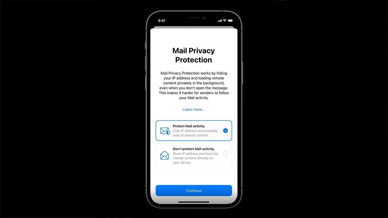 A new pop up on Apple devices, asking the user whether they want privacy protection on their email